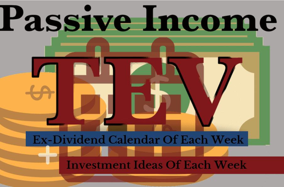 Ex-dividend dates calendar plus Investment Ideas of each week image